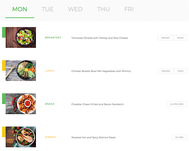 Madang WordPress theme nutrition meal plans