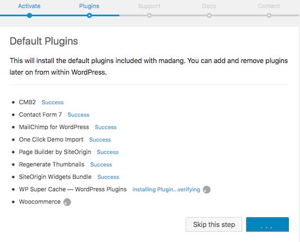 Madang WordPress easy installation/demo content setup wizard