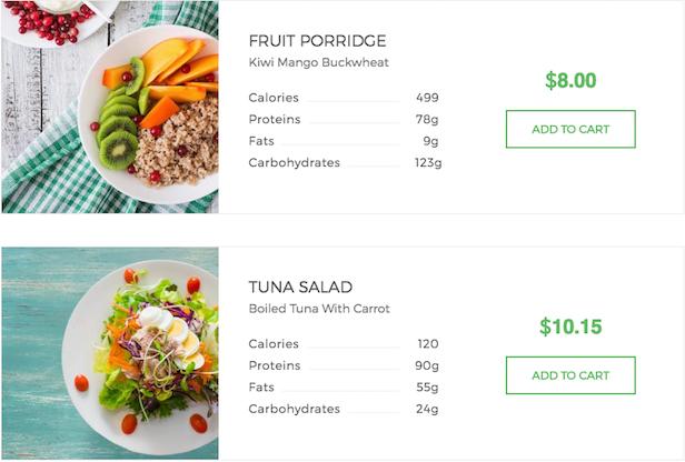Madang WordPress theme organic products listing example