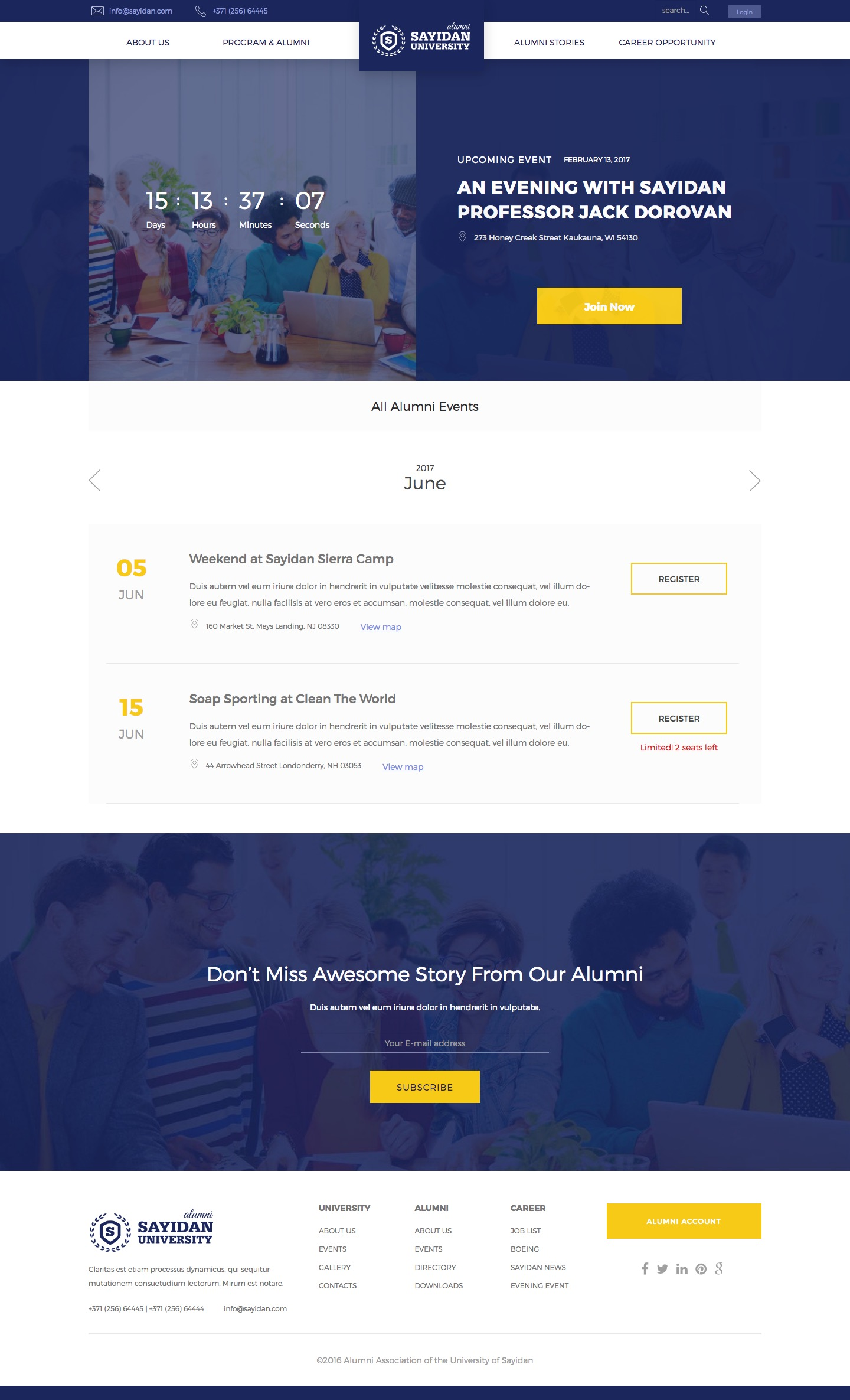 Programs & Events - University Alumni Education WordPress Theme